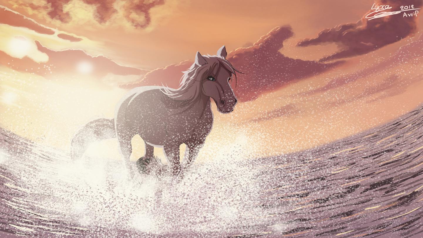 Dessin au galop dans la mer lyxa graphisme - Dessin cheval de course ...