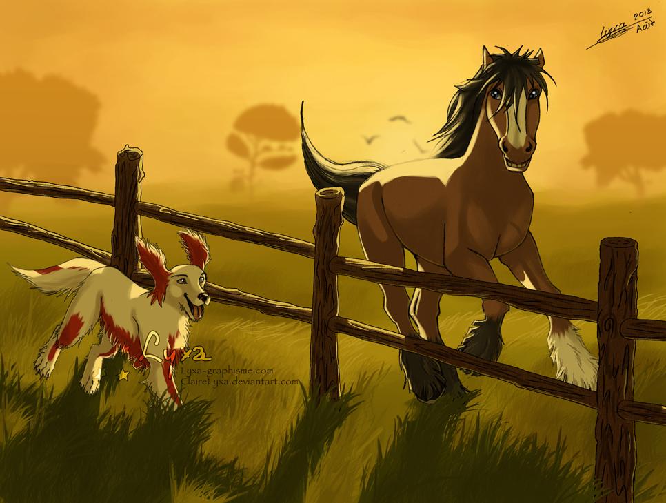 Dessin course entre un cocker et un cheval lyxa graphisme - Dessin cheval de trait ...