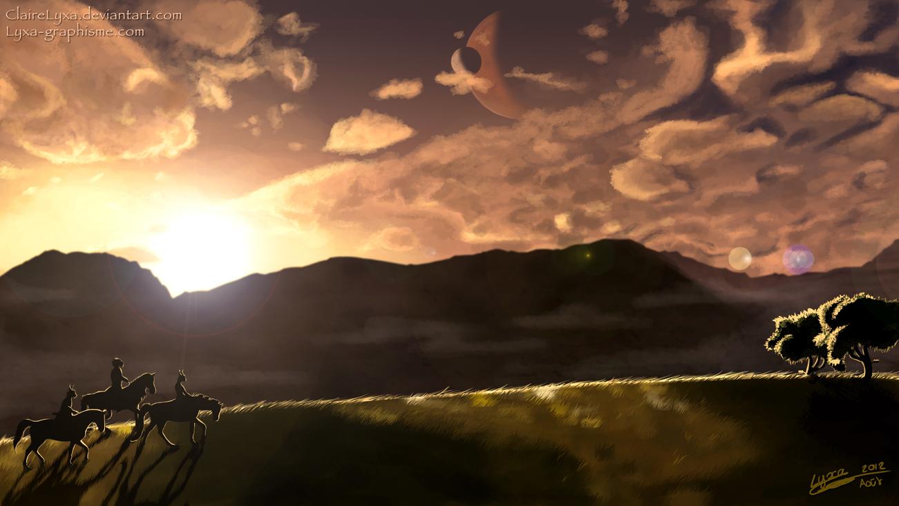 Dessin coucher de soleil fantastique lyxa graphisme - Coucher de soleil dessin ...